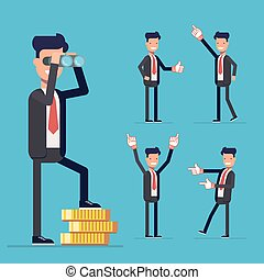 Businessman set. A man stands on money and looking through binoculars. People voting in business suits showing thumbs up or point to the side. Cartoon characters isolated on blue background