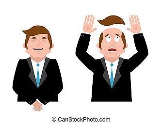 Businessman set. Joyful man in suit. Man and wig. Scared...