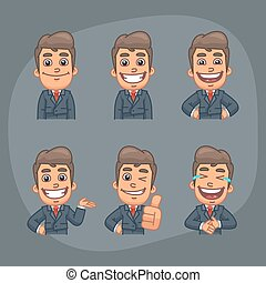 Businessman Set of 6 Poses Stickers Pack Part 1