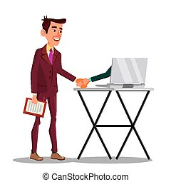 Businessman Shaking Hand Extended From Screen Of His Laptop Vector Flat Cartoon Illustration