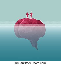 Businessman shaking hands standing on the island, island is in the shape of a brain. The sea is deep.