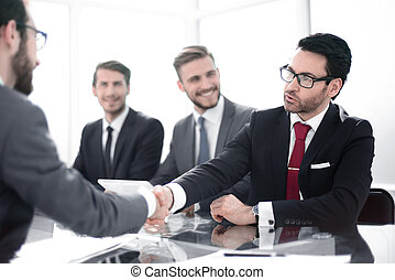 businessman shaking hands with his business partner