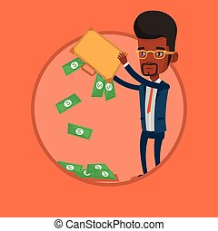 Businessman shaking out money from his briefcase.