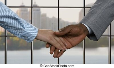 Businessman shaking young woman's hand.