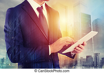 Businessman shares document with tablet. Internet concept