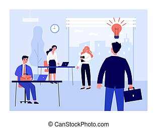 Businessman sharing idea with sad colleagues. Bulb, office, job flat illustration. Workplace and business concept for banner, website design or landing web page