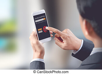 Businessman shop online on mobile with shopping cart, digital technology concept