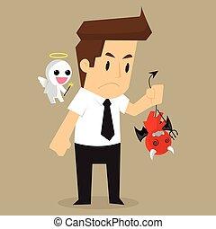 businessman shoulder devil and angel