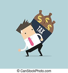 Businessman shoulder tax box with money bag.