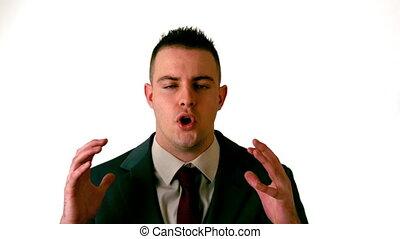 Businessman shouting at the camera