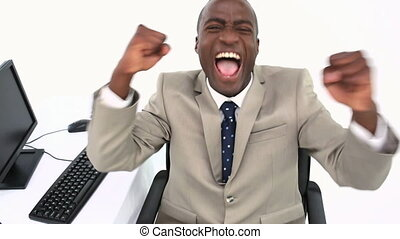 Businessman shouting  the arms raised