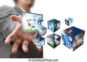 businessman show a creative box with 3 d streaming images