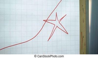 Businessman show chart on flipchart - Businessman show chart...