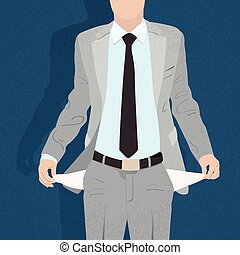Businessman Show Empty Pocket, Turning Inside Out No Money...