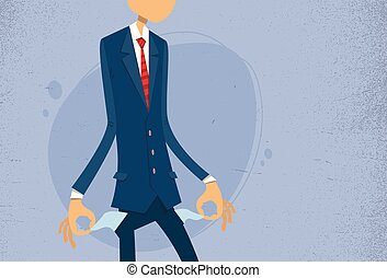 Businessman Show Empty Pocket, Turning Inside Out No Money
