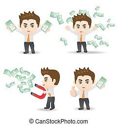 Businessman show finance money