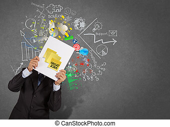 businessman show great jobs on sticky note with book business strategy texture background as concept