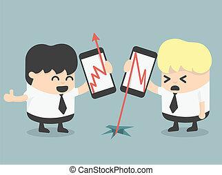 businessman Show growth progress red arrow and arrow fall