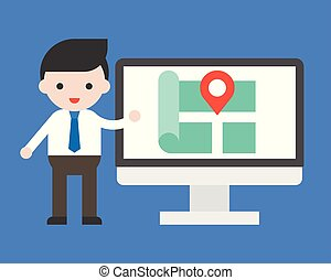 Businessman show location on computer screen vector