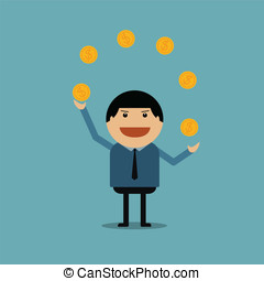 Businessman show of play money