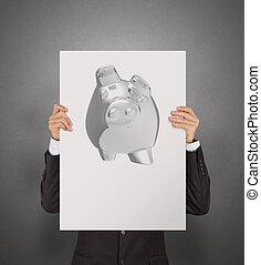 businessman show poster of 3d piggy bank as concept