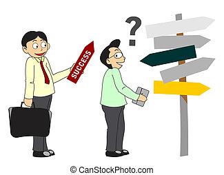 businessman show success direction