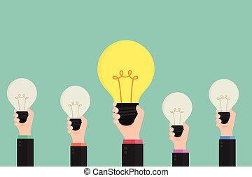 Businessman show the best idea concept.