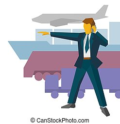Businessman show the way to different delivery vehicles