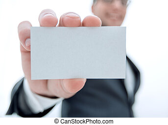 businessman showing a blank business card