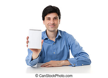 businessman showing a blank notepad