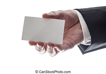 Businessman showing a business card