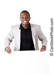 Businessman showing blank advertisement