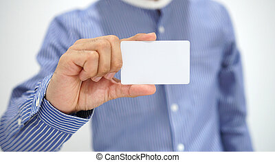 Businessman showing business card.
