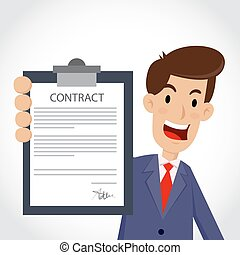 Businessman Showing Business Contract