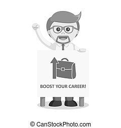 businessman showing career promotion black and white style