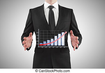 businessman showing chart