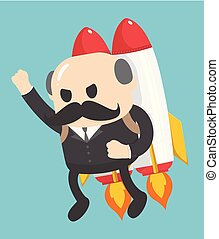 Businessman showing confidence flying on a rocket