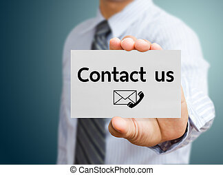 Businessman showing contact us card