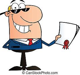 Businessman Showing Contract - Caucasian Businessman Holding...