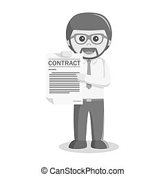 businessman showing contract paper black and white style