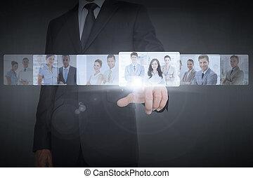 Businessman showing digital interface