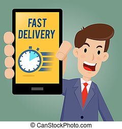 Businessman Showing Fast Delivery Icon on Smartphone