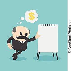 Businessman showing financial plan