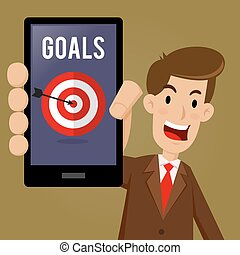 Businessman Showing Goals And Target on Smartphone