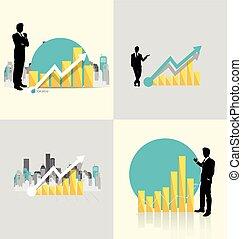 Businessman showing graph. Vector illustration.