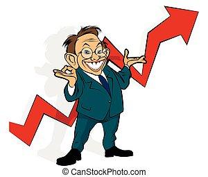 Businessman showing graph