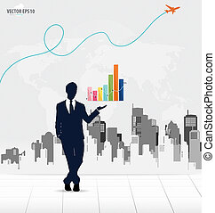 Businessman showing graph with building background. Vector illus