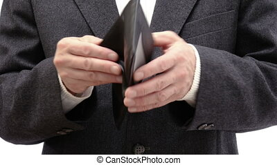 Businessman showing his absolutely empty wallet - Close up...