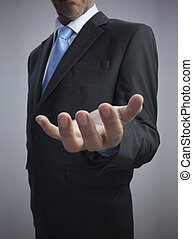 Businessman showing his empty hand