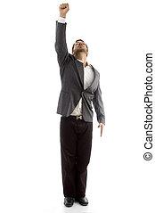 businessman showing his punch upward